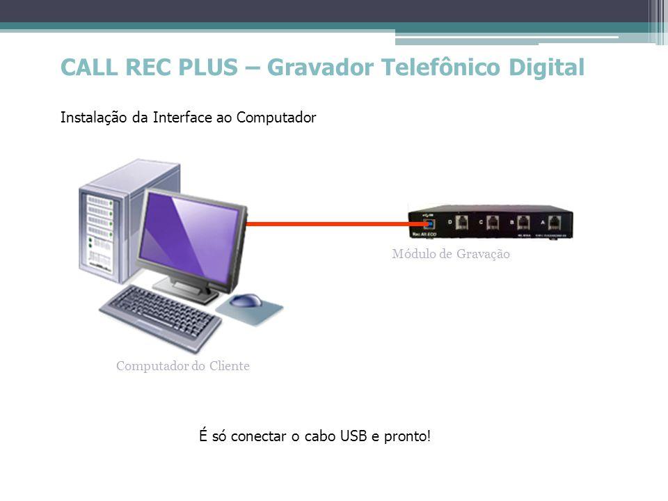 CALL REC PLUS – Gravador Telefônico Digital Instalação da Interface ao Computador