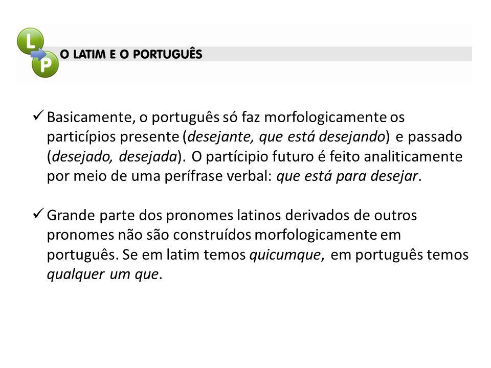 Basicamente, o português só faz morfologicamente os particípios presente (desejante, que está desejando) e passado (desejado, desejada). O partícipio futuro é feito analiticamente por meio de uma perífrase verbal: que está para desejar.