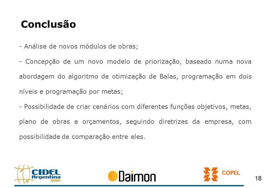 Conclusão - Análise de novos módulos de obras;