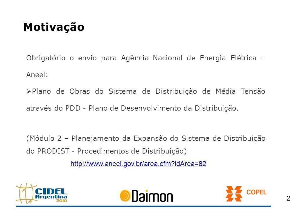 Motivação Obrigatório o envio para Agência Nacional de Energia Elétrica – Aneel: