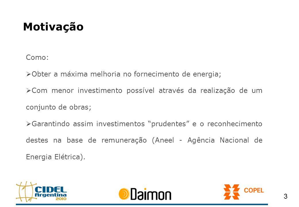 Motivação Como: Obter a máxima melhoria no fornecimento de energia;