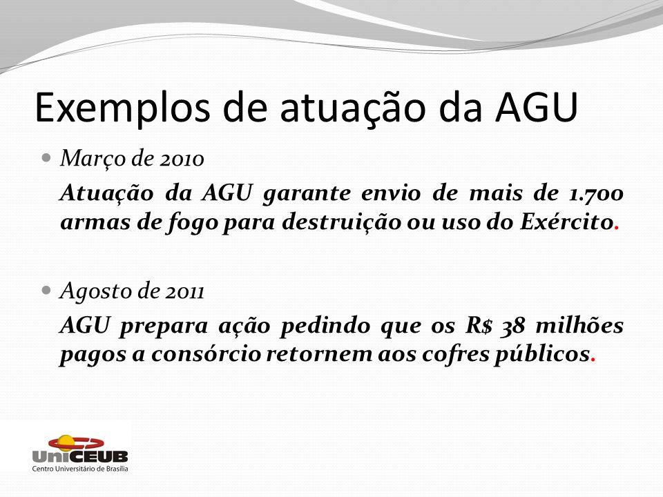 Exemplos de atuação da AGU