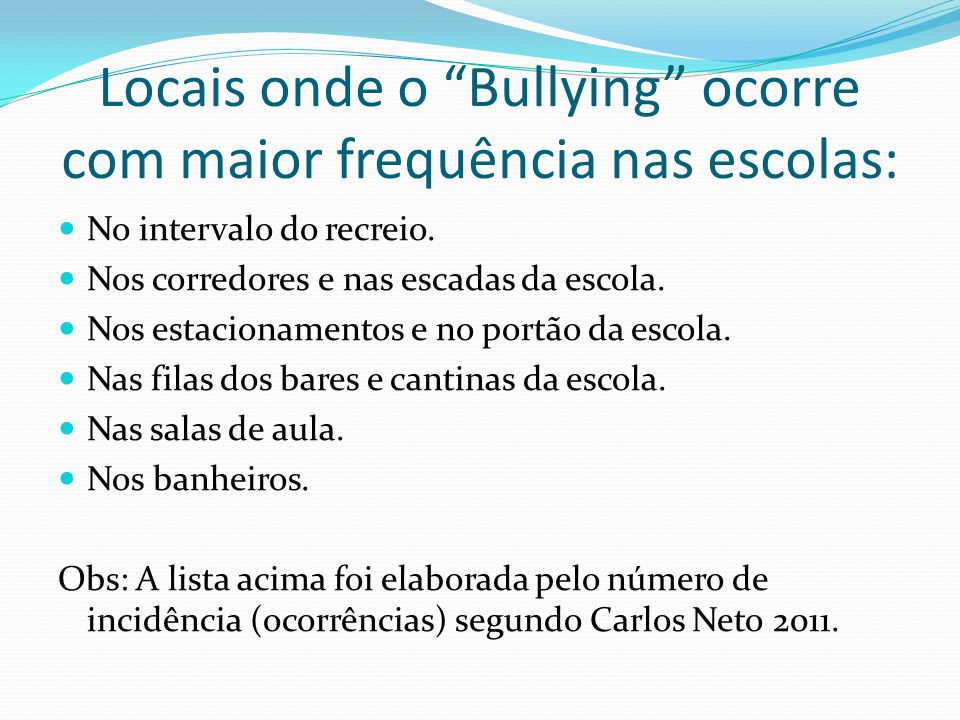 Locais onde o Bullying ocorre com maior frequência nas escolas: