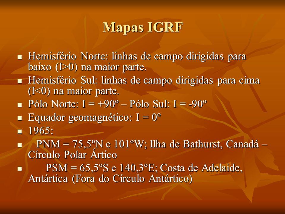 Mapas IGRF Hemisfério Norte: linhas de campo dirigidas para baixo (I>0) na maior parte.