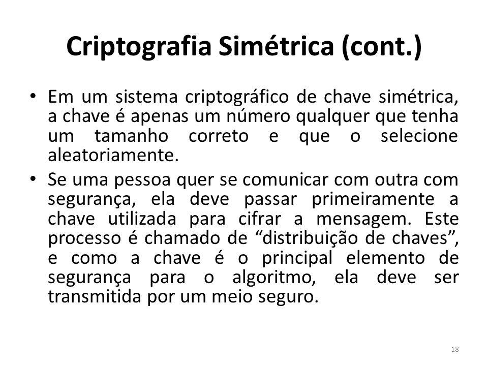 Criptografia Simétrica (cont.)