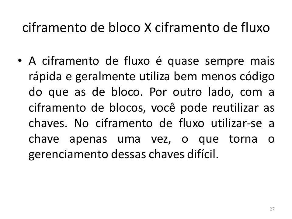 ciframento de bloco X ciframento de fluxo