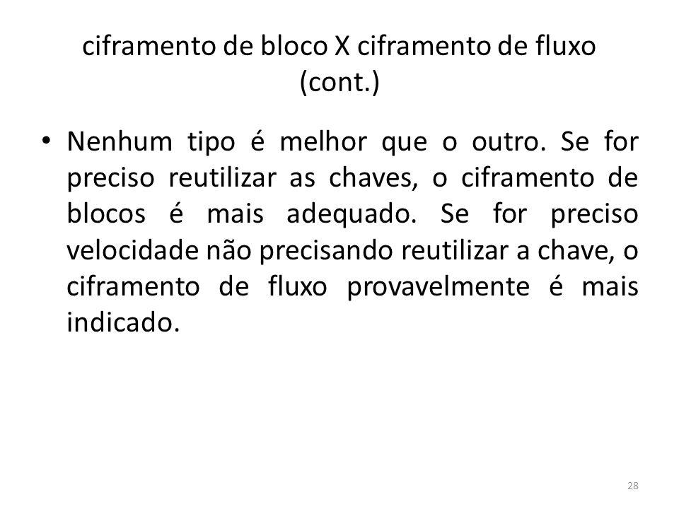 ciframento de bloco X ciframento de fluxo (cont.)