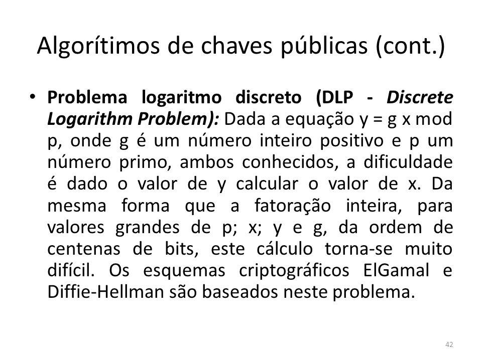 Algorítimos de chaves públicas (cont.)