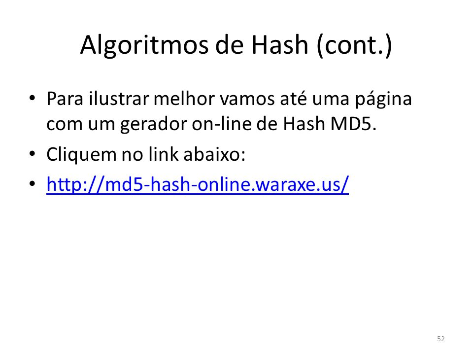 Algoritmos de Hash (cont.)