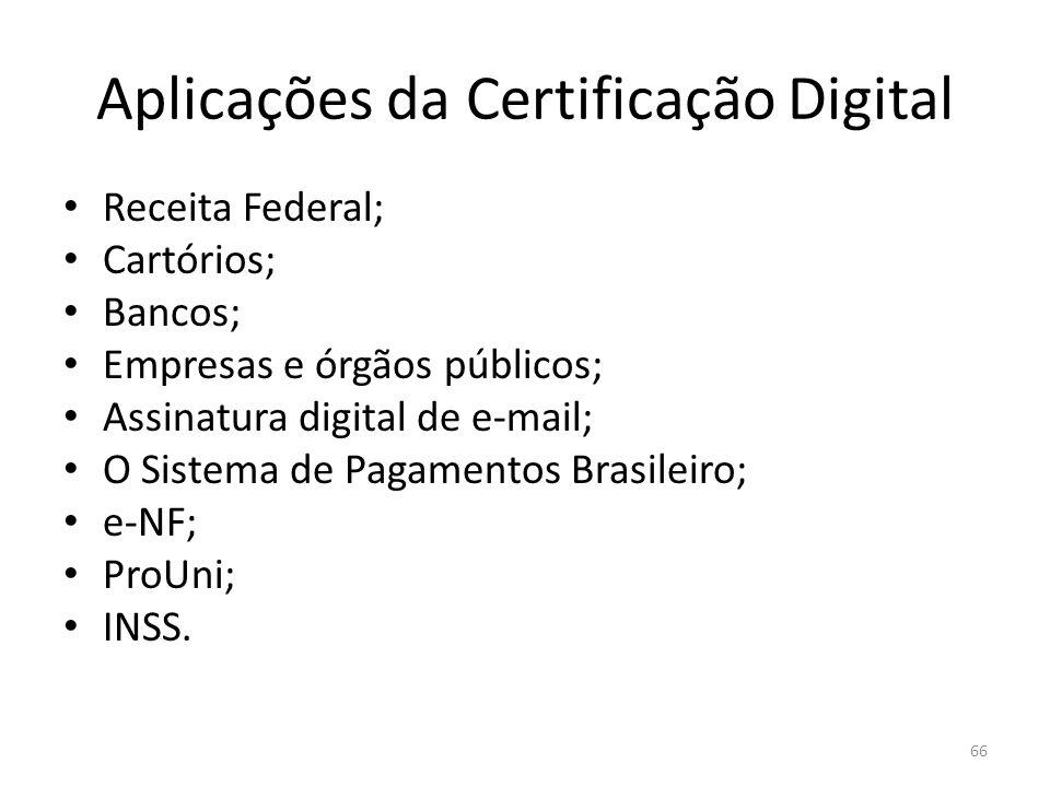 Aplicações da Certificação Digital