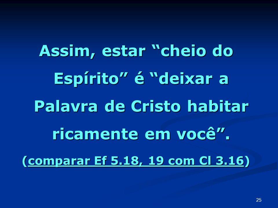 Assim, estar cheio do Espírito é deixar a Palavra de Cristo habitar ricamente em você .