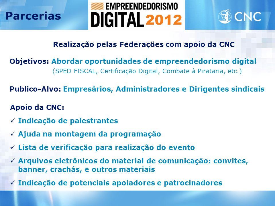 Realização pelas Federações com apoio da CNC