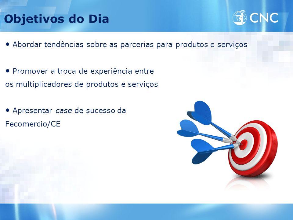 Objetivos do Dia Abordar tendências sobre as parcerias para produtos e serviços. Promover a troca de experiência entre.