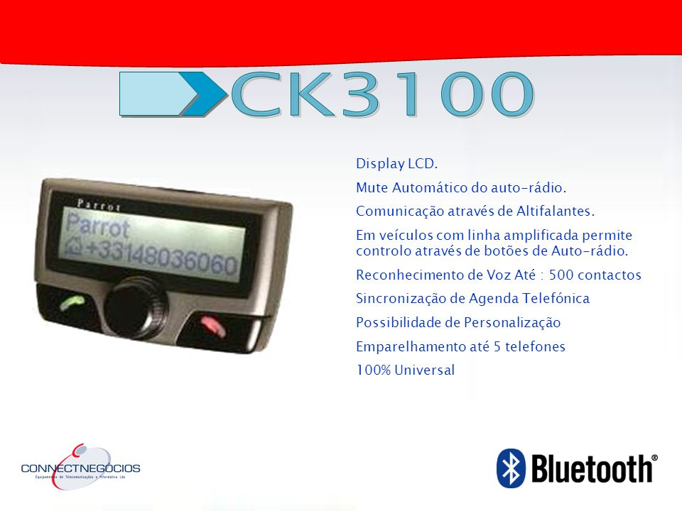 CK3100 Display LCD. Mute Automático do auto-rádio.