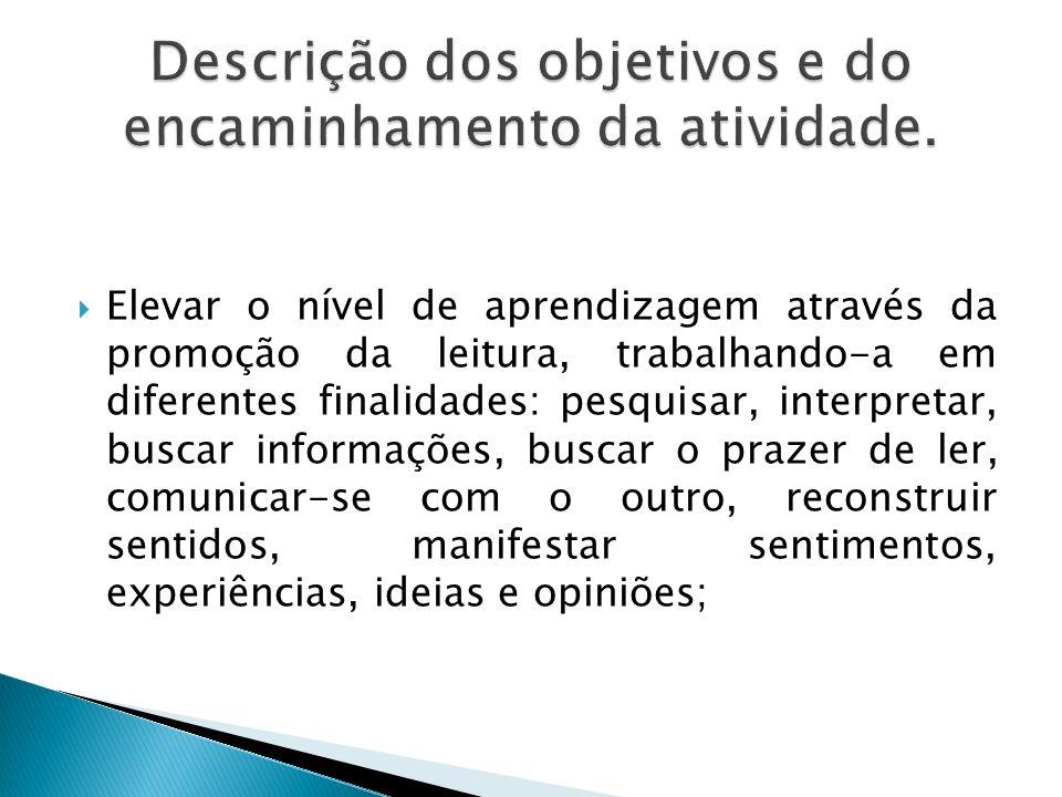 Descrição dos objetivos e do encaminhamento da atividade.