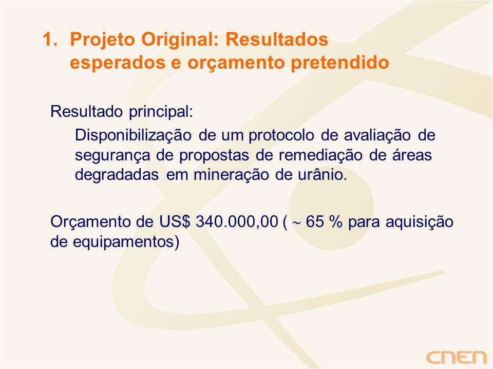 Projeto Original: Resultados esperados e orçamento pretendido