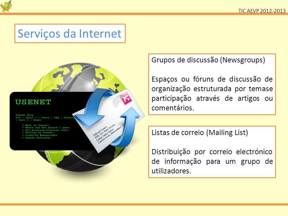 Serviços da Internet Grupos de discussão (Newsgroups)