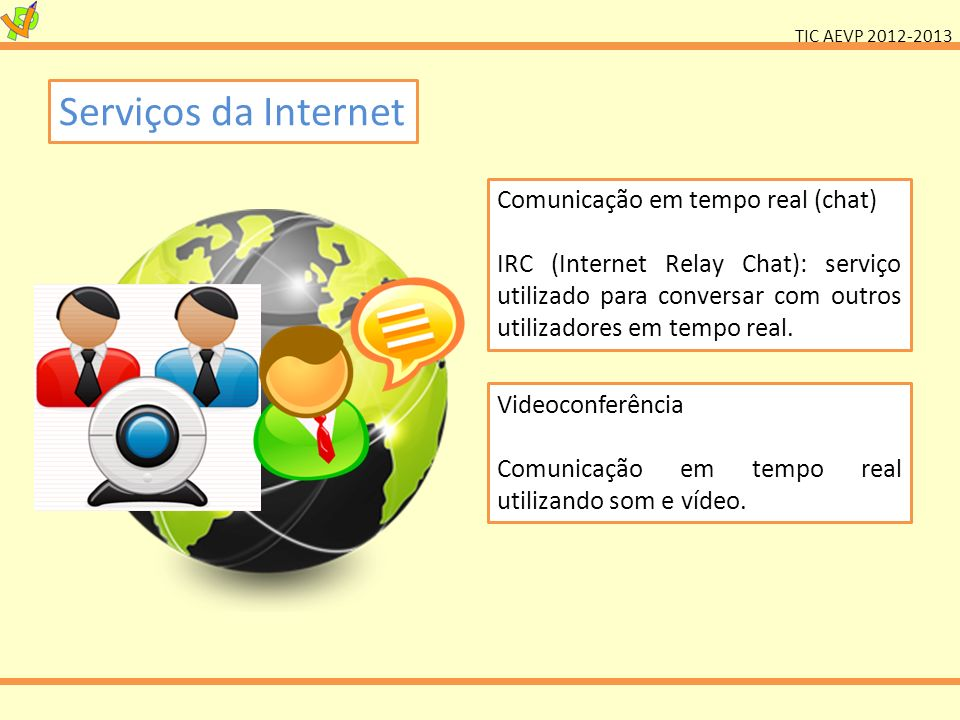 Serviços da Internet Comunicação em tempo real (chat)