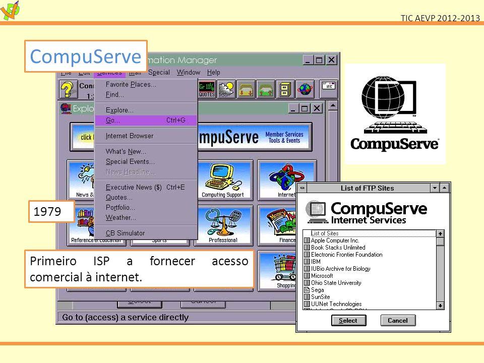 CompuServe 1979 Primeiro ISP a fornecer acesso comercial à internet.