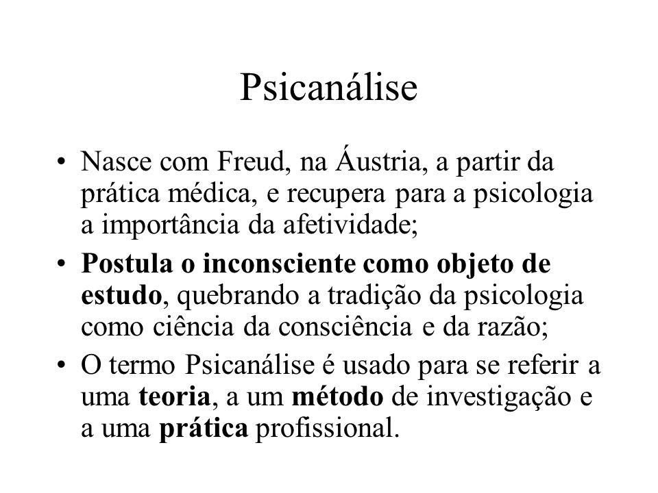 Psicanálise Nasce com Freud, na Áustria, a partir da prática médica, e recupera para a psicologia a importância da afetividade;