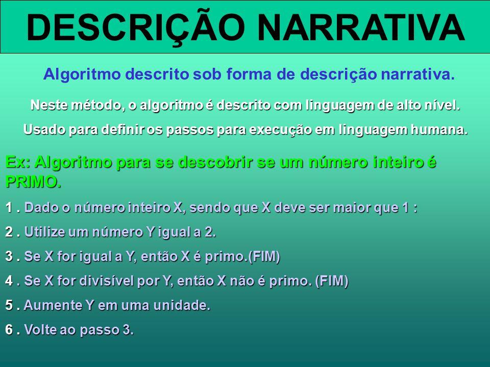 DESCRIÇÃO NARRATIVA Algoritmo descrito sob forma de descrição narrativa. Neste método, o algoritmo é descrito com linguagem de alto nível.
