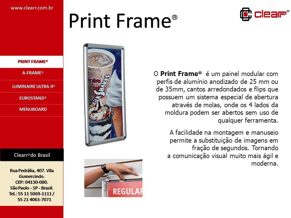 O Print Frame é um painel modular com perfis de alumínio anodizado de 25 mm ou de 35mm, cantos arredondados e flips que possuem um sistema especial de abertura através de molas, onde os 4 lados da moldura podem ser abertos sem uso de qualquer ferramenta.