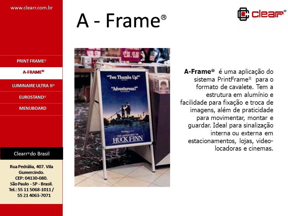 A-Frame é uma aplicação do sistema PrintFrame para o formato de cavalete.
