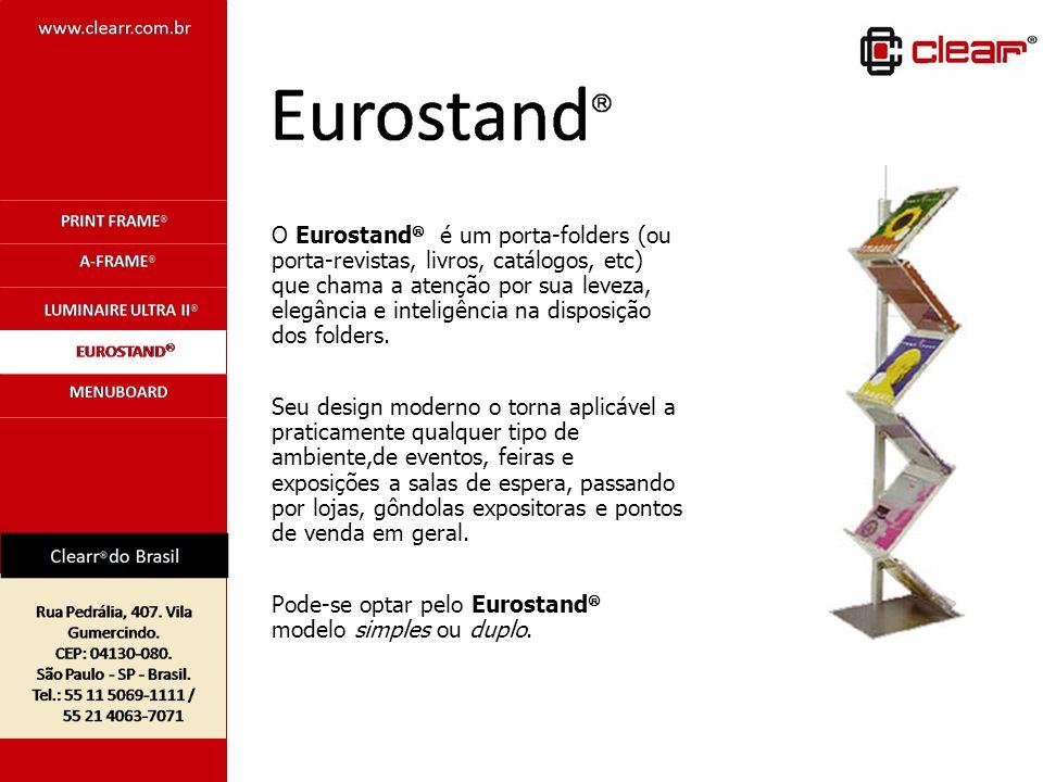 O Eurostand é um porta-folders (ou porta-revistas, livros, catálogos, etc) que chama a atenção por sua leveza, elegância e inteligência na disposição dos folders.