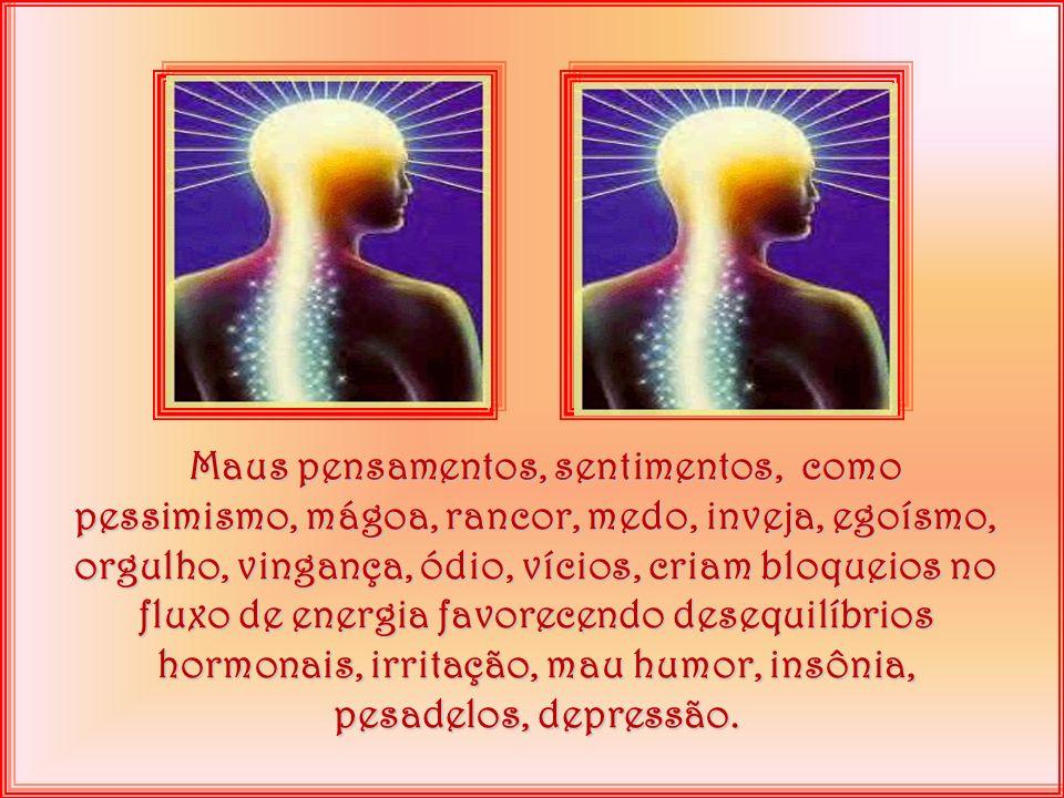 Maus pensamentos, sentimentos, como pessimismo, mágoa, rancor, medo, inveja, egoísmo, orgulho, vingança, ódio, vícios, criam bloqueios no fluxo de energia favorecendo desequilíbrios hormonais, irritação, mau humor, insônia, pesadelos, depressão.