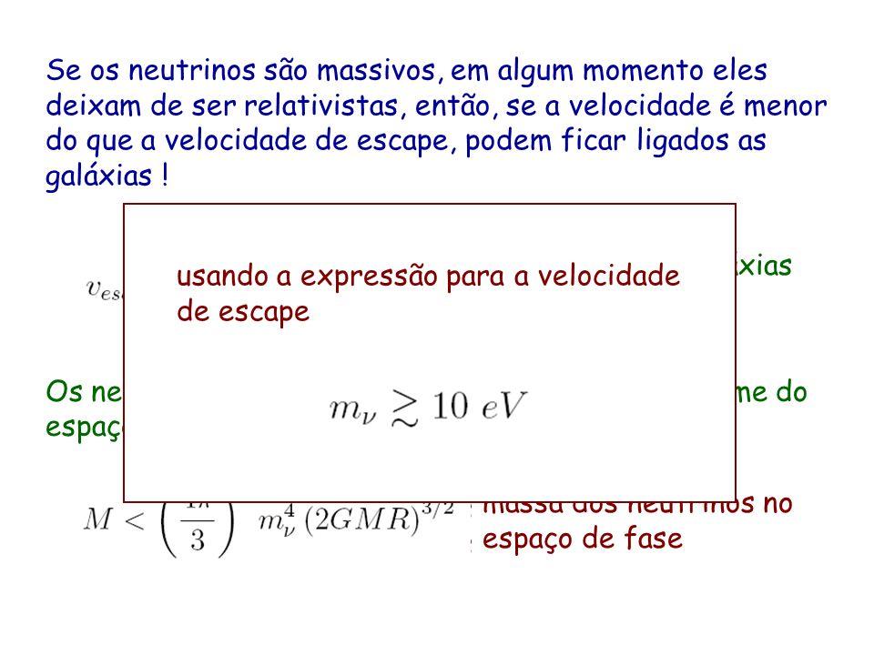 Se os neutrinos são massivos, em algum momento eles deixam de ser relativistas, então, se a velocidade é menor do que a velocidade de escape, podem ficar ligados as galáxias !