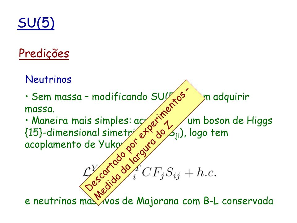 SU(5) Predições Contem SU(3)c x SU(2)L x U(1)Y como subgrupo.