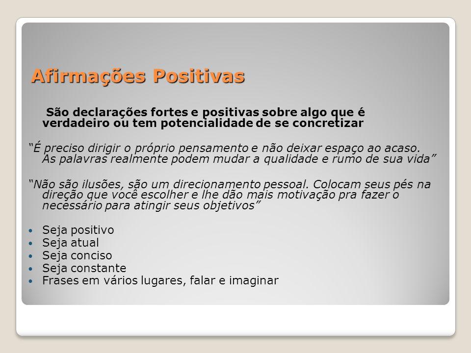 Afirmações Positivas São declarações fortes e positivas sobre algo que é verdadeiro ou tem potencialidade de se concretizar.