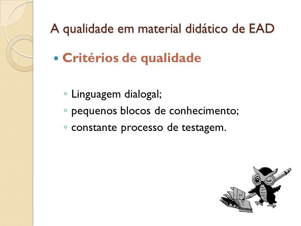 A qualidade em material didático de EAD