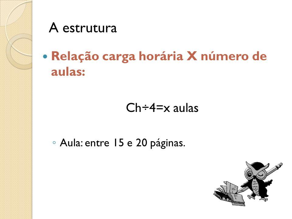 A estrutura Relação carga horária X número de aulas: Ch÷4=x aulas