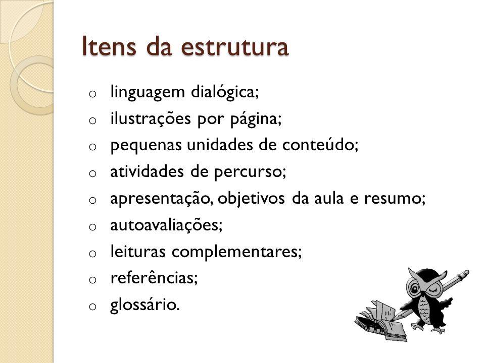 Itens da estrutura linguagem dialógica; ilustrações por página;