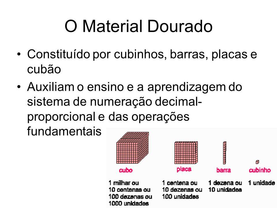O Material Dourado Constituído por cubinhos, barras, placas e cubão