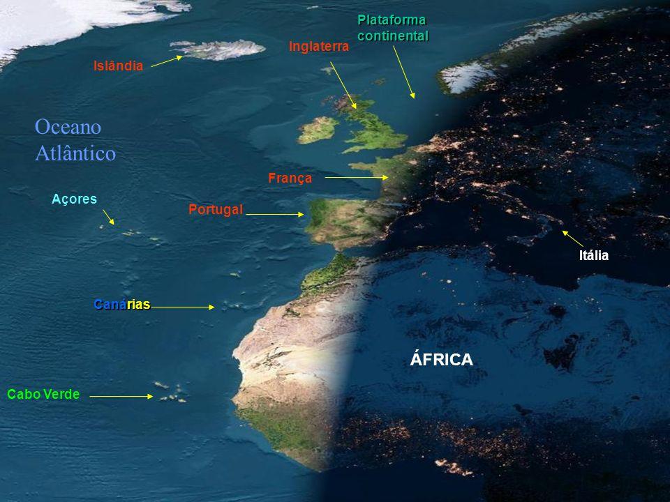 Oceano Atlântico ÁFRICA Plataforma continental Inglaterra Islândia