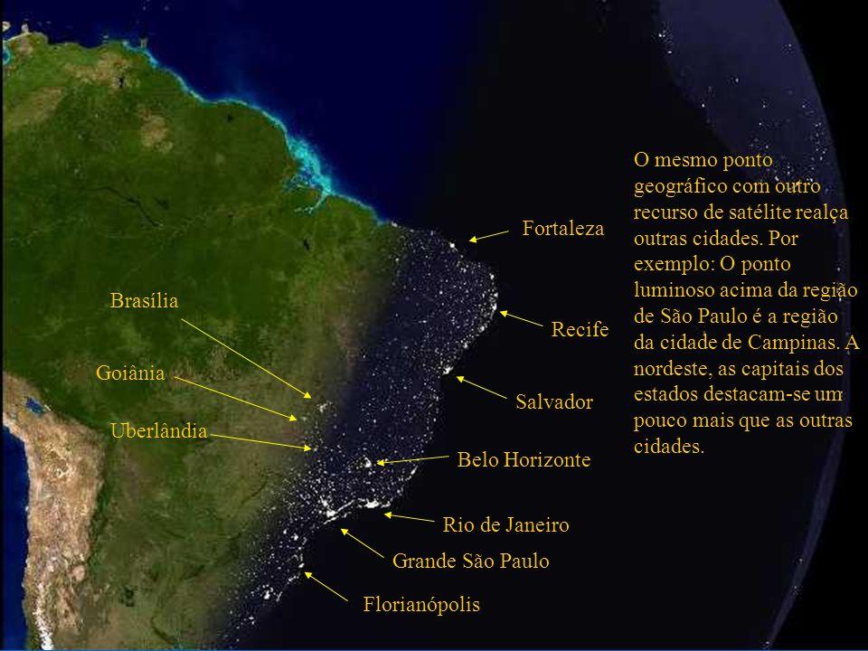 O mesmo ponto geográfico com outro recurso de satélite realça outras cidades. Por exemplo: O ponto luminoso acima da região de São Paulo é a região da cidade de Campinas. A nordeste, as capitais dos estados destacam-se um pouco mais que as outras cidades.