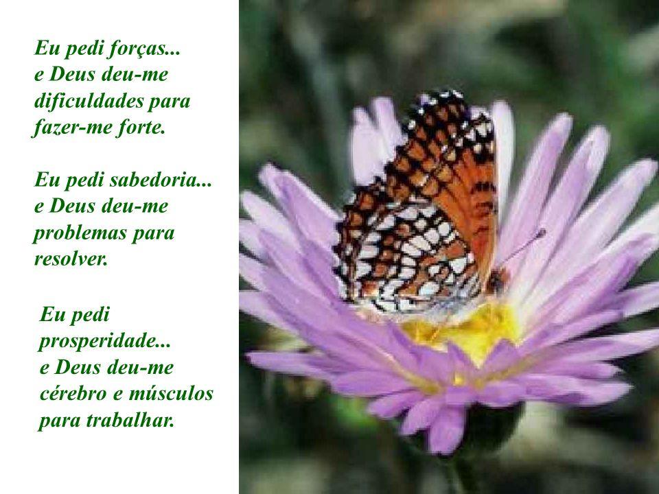 Eu pedi forças... e Deus deu-me dificuldades para fazer-me forte. Eu pedi sabedoria... e Deus deu-me problemas para resolver.