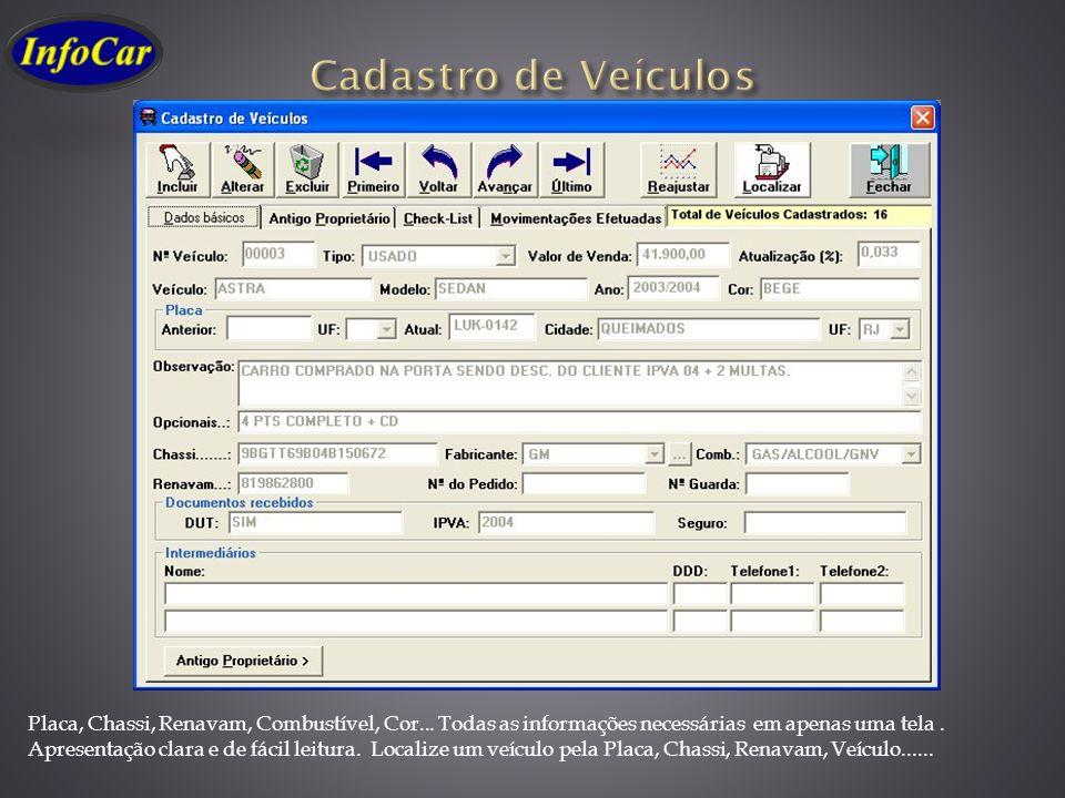 Cadastro de Veículos Placa, Chassi, Renavam, Combustível, Cor... Todas as informações necessárias em apenas uma tela .