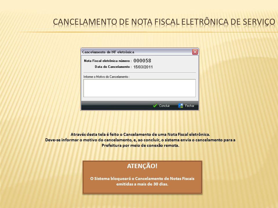 Cancelamento de nota fiscal eletrônica de serviço