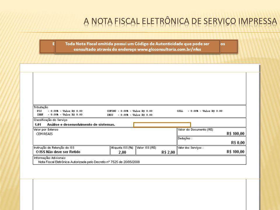 A Nota fiscal eletrônica de serviço impressa