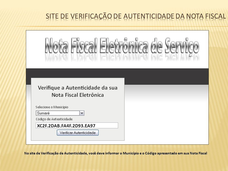 Site de verificação de autenticidade da nota fiscal