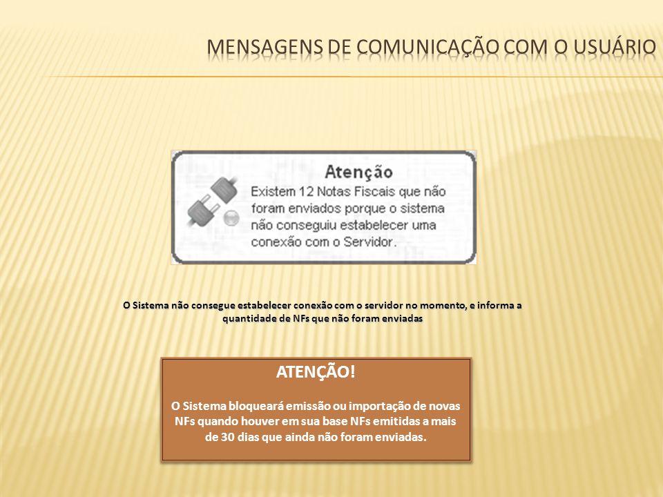 Mensagens de comunicação com o usuário