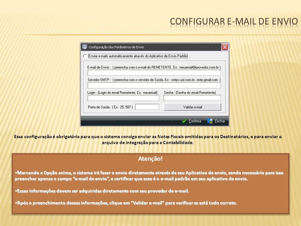 Configurar e-mail de envio