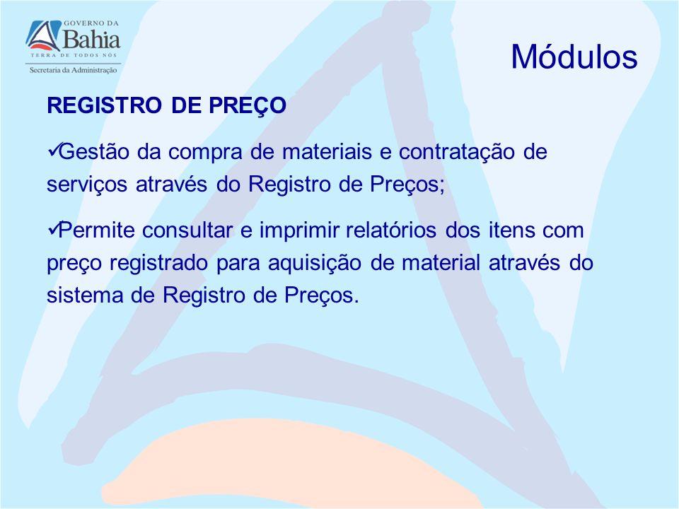 Módulos REGISTRO DE PREÇO