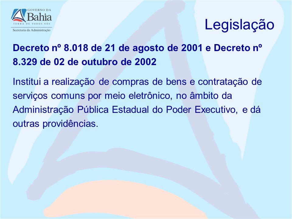 Legislação Decreto nº 8.018 de 21 de agosto de 2001 e Decreto nº 8.329 de 02 de outubro de 2002.