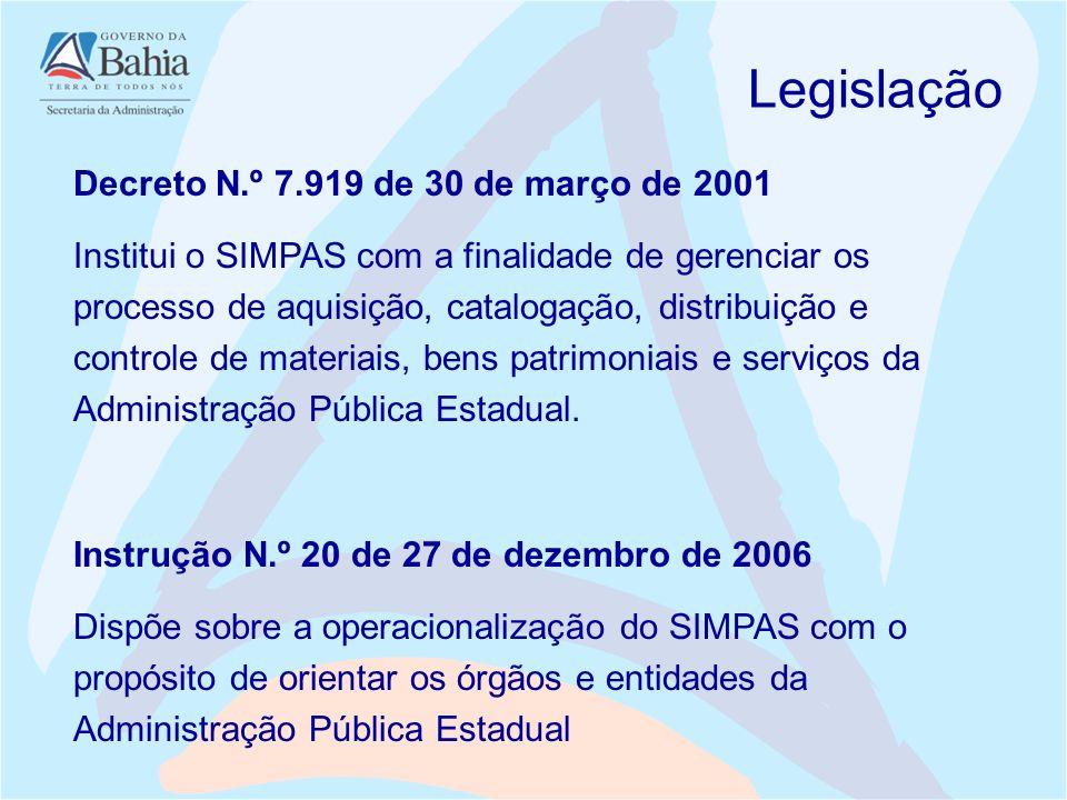 Legislação Decreto N.º 7.919 de 30 de março de 2001