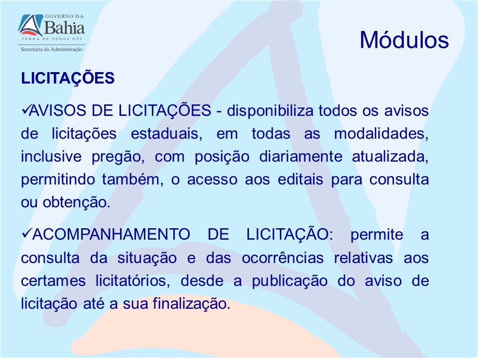 Módulos LICITAÇÕES.