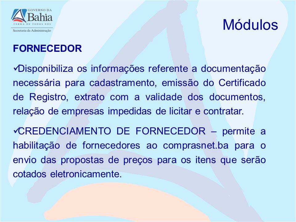 Módulos FORNECEDOR.